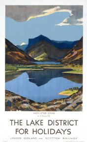 Honister Crag, Lake District, Cumbria. Vintage LMS Travel poster by Algernon Talmage